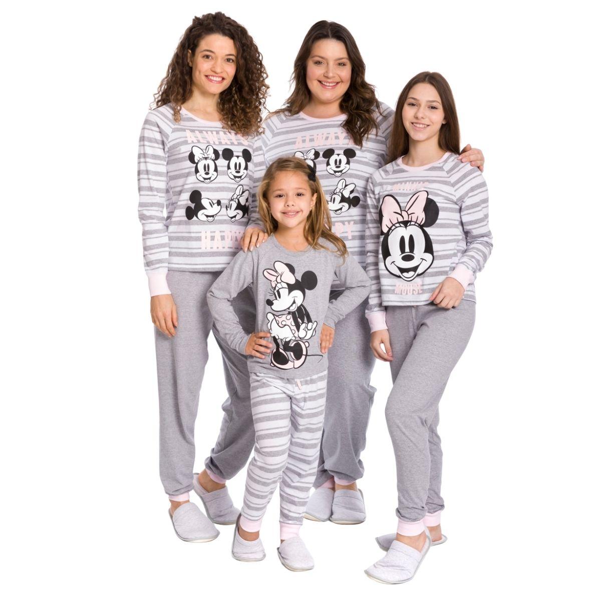Pijama juvenil menina minnie manga longa quentinho inverno
