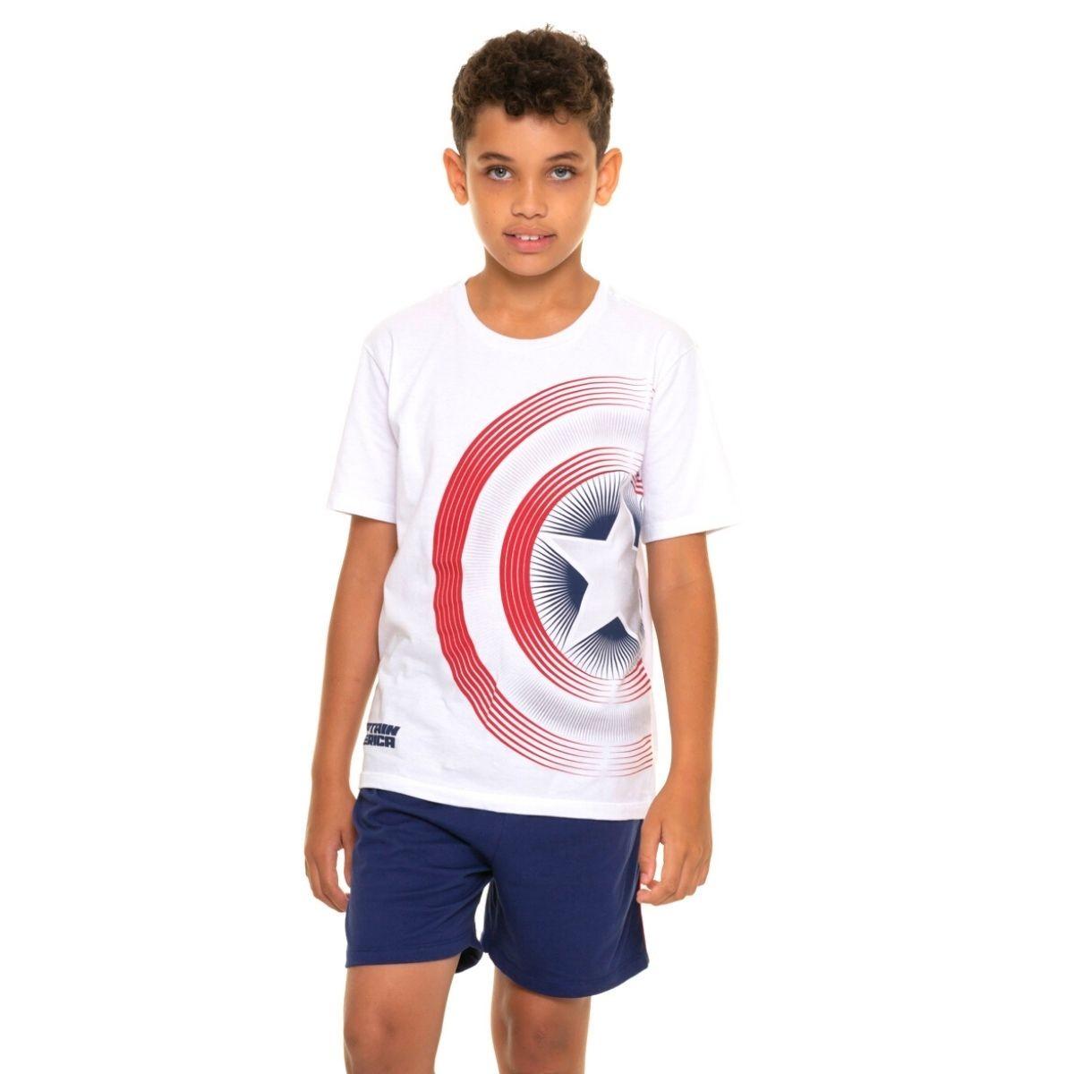 Pijama juvenil menino calor capitão america escudo familia