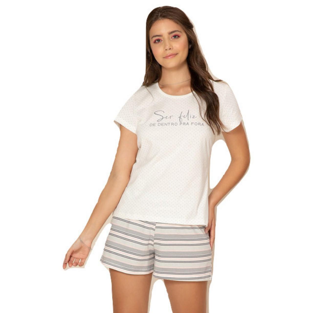 Pijama verão baby doll algodão short listrado blusa