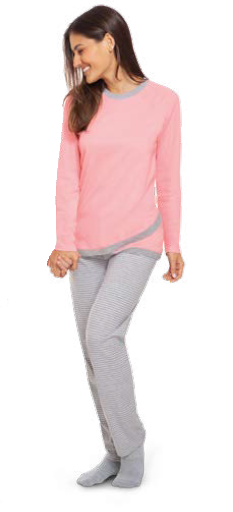Pijama longo feminino adulto inverno mãe salmão lupo