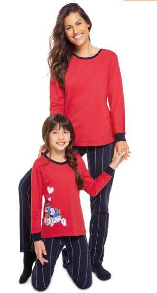 Pijama longo inverno punho feminino calça listrada mãe lupo