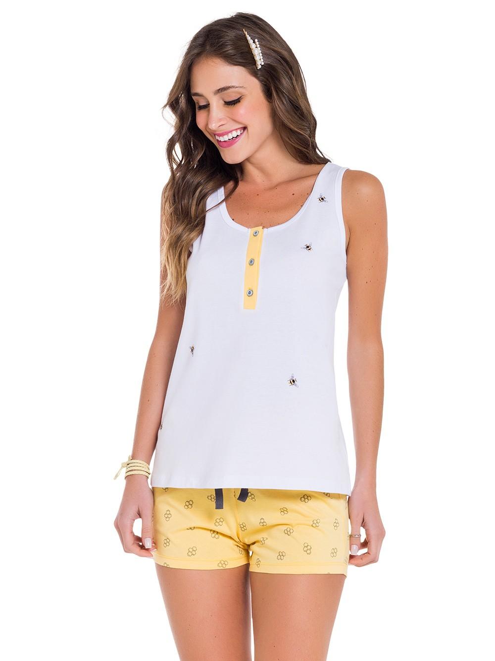 Pijama mamãe regata botão short abelinha verão fresquinho