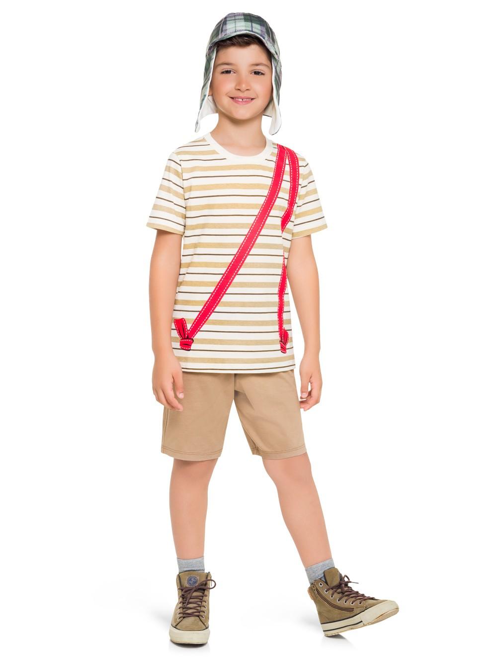 Pijama manga curta infantil chaves menino brinde chapeu