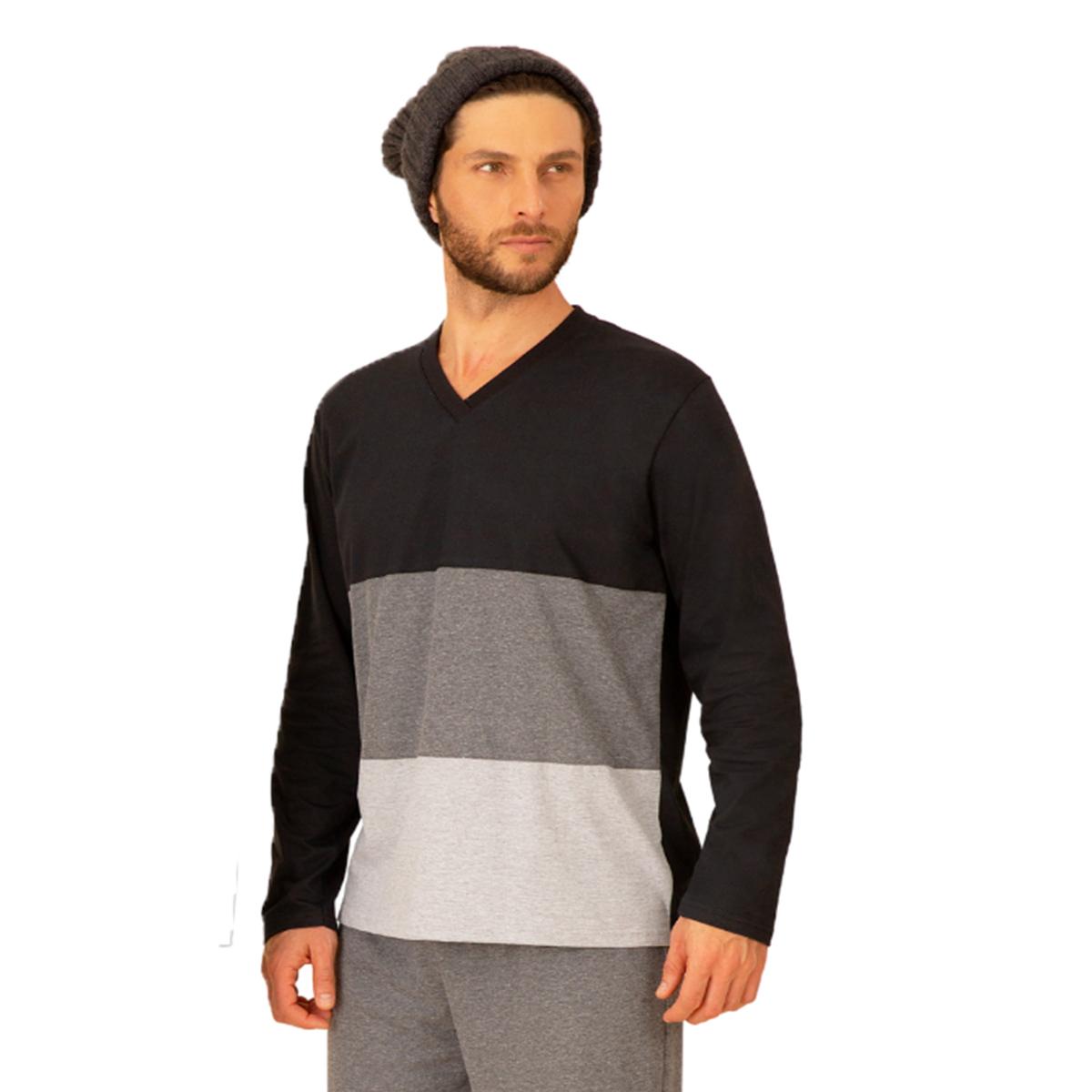 Pijama masculino adulto viscose decote v listra