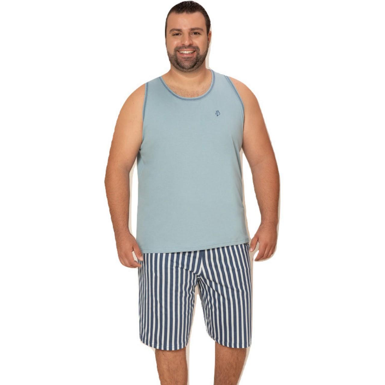 Pijama masculino blusa regata bermuda plus size adulto verão