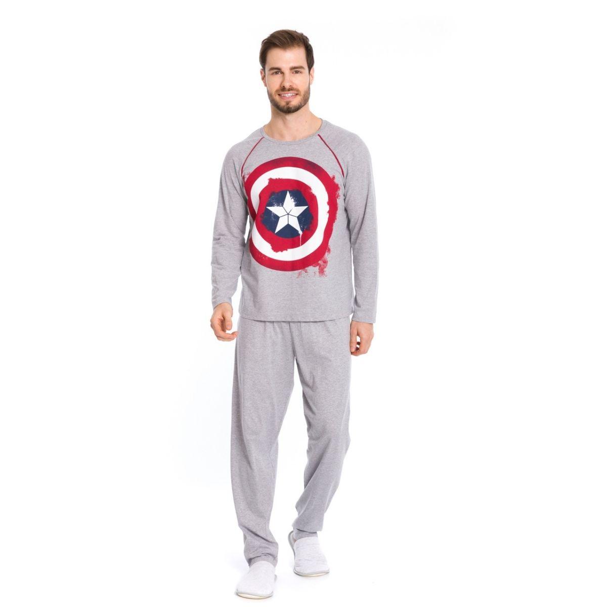 Pijama masculino capitão america algodão mescla