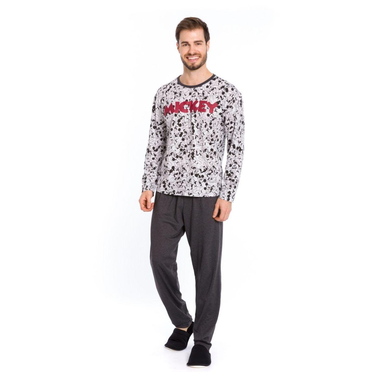 Pijama masculino do mickey  algodão frio chumbo