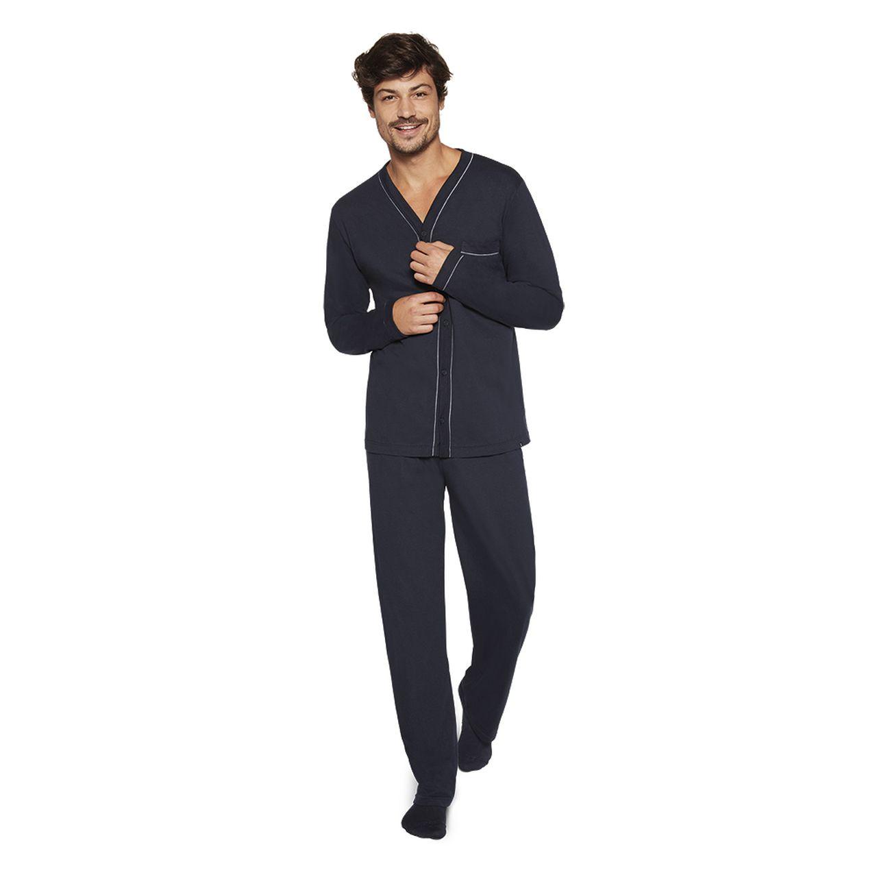 Pijama masculino inverno botão cava v lupo