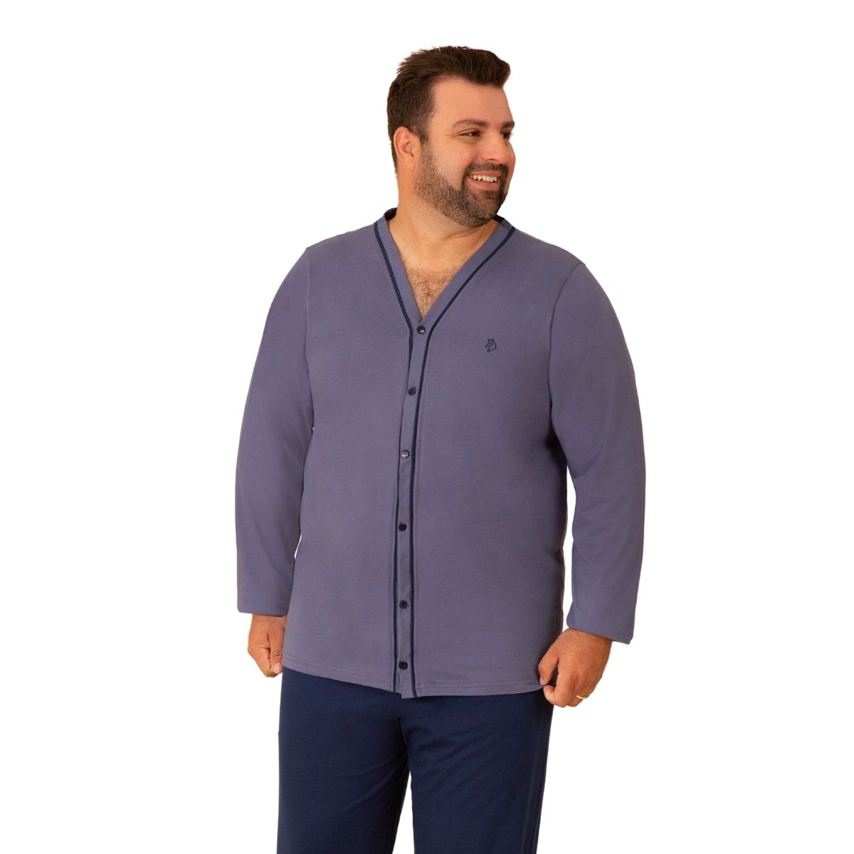 Pijama masculino inverno plus size botão algodão pós cirúrgico