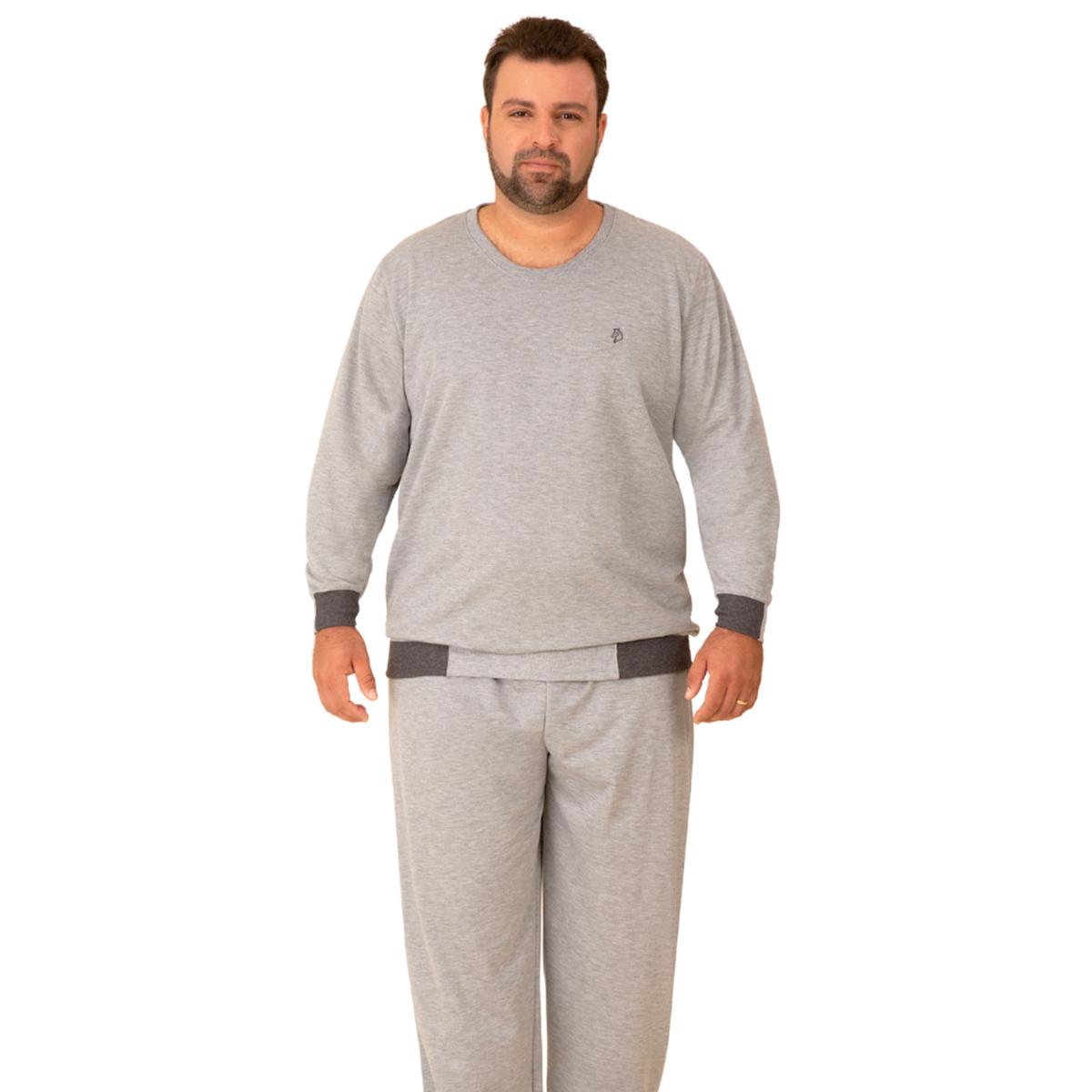 Pijama masculino plus size moletinho flanelado gola redonda