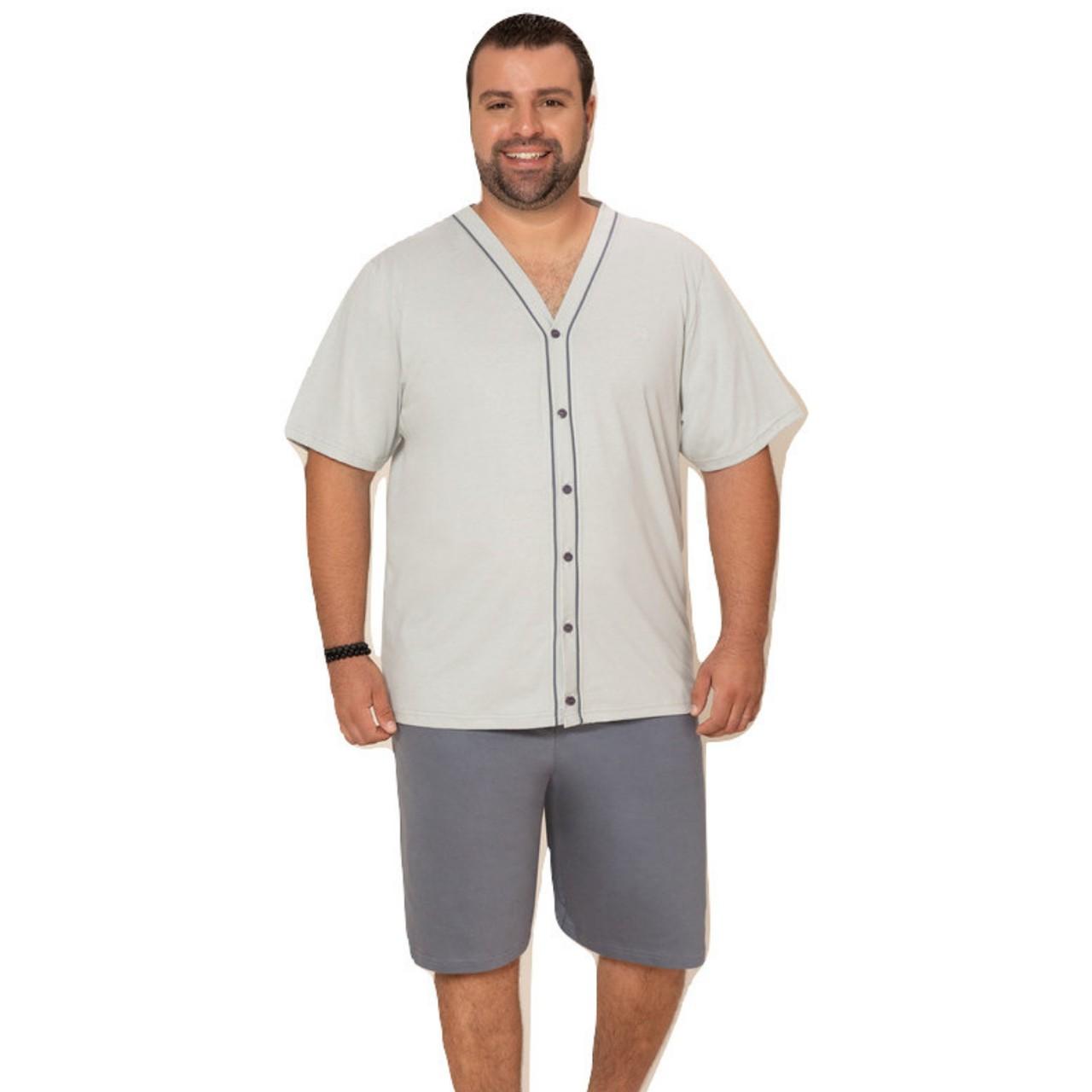 Pijama masculino plus size verão blusa abertura frontal