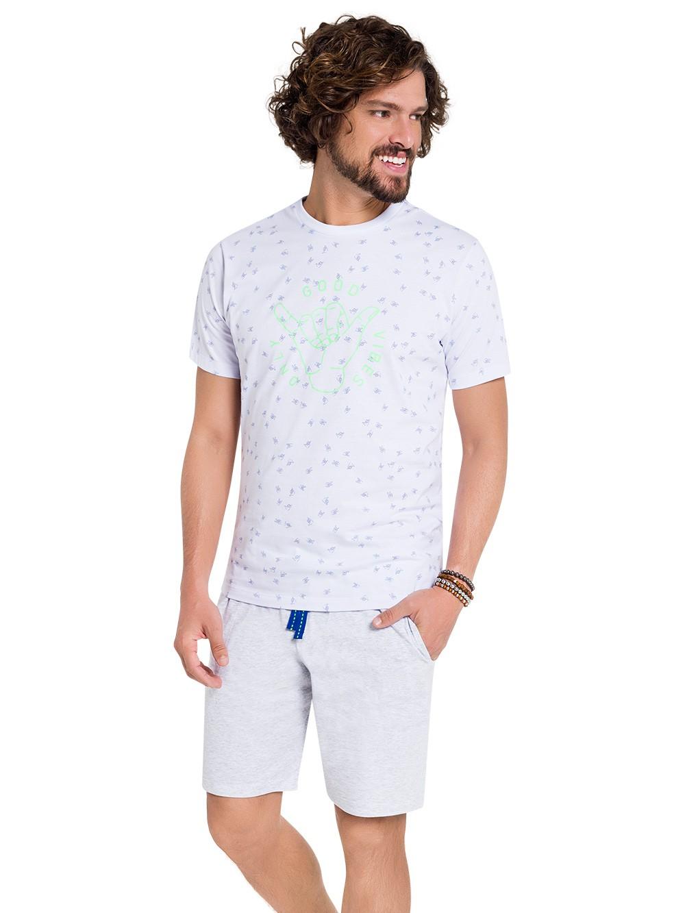 Pijama masculino verão bermuda blusa manga good vibes