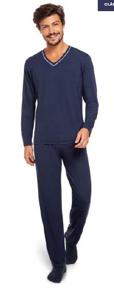 Pijama masculino viscose adulto inverno manga longa lupo