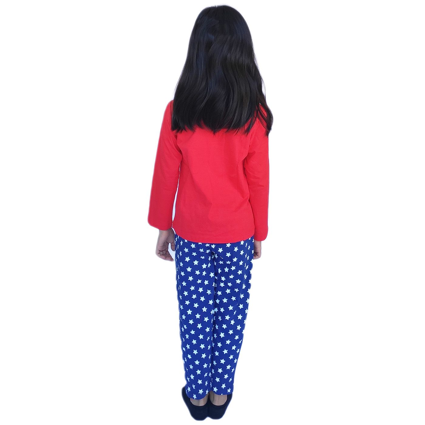 Pijama menina mulher maravilha calça estrelinha faixa cabelo