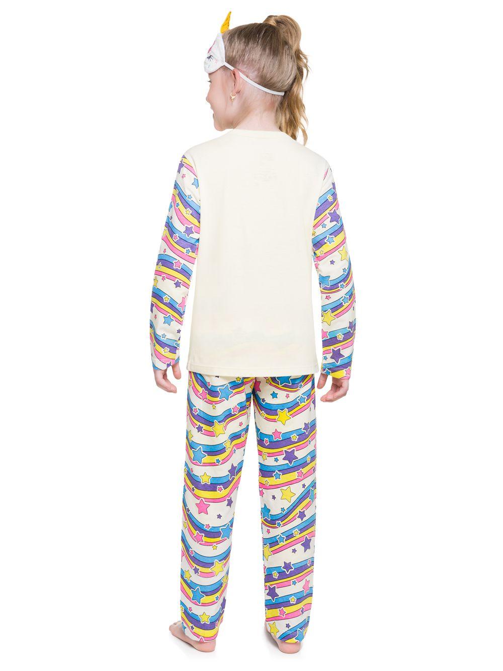 Pijama menina unicórnio colorido algodão malha penteada