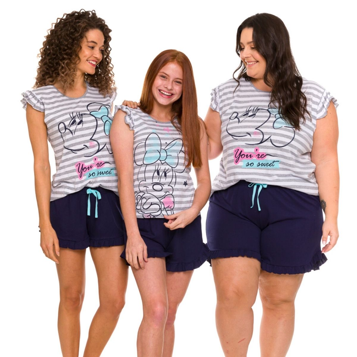 Pijama plus size feminno listrado minnie laco short soltinho