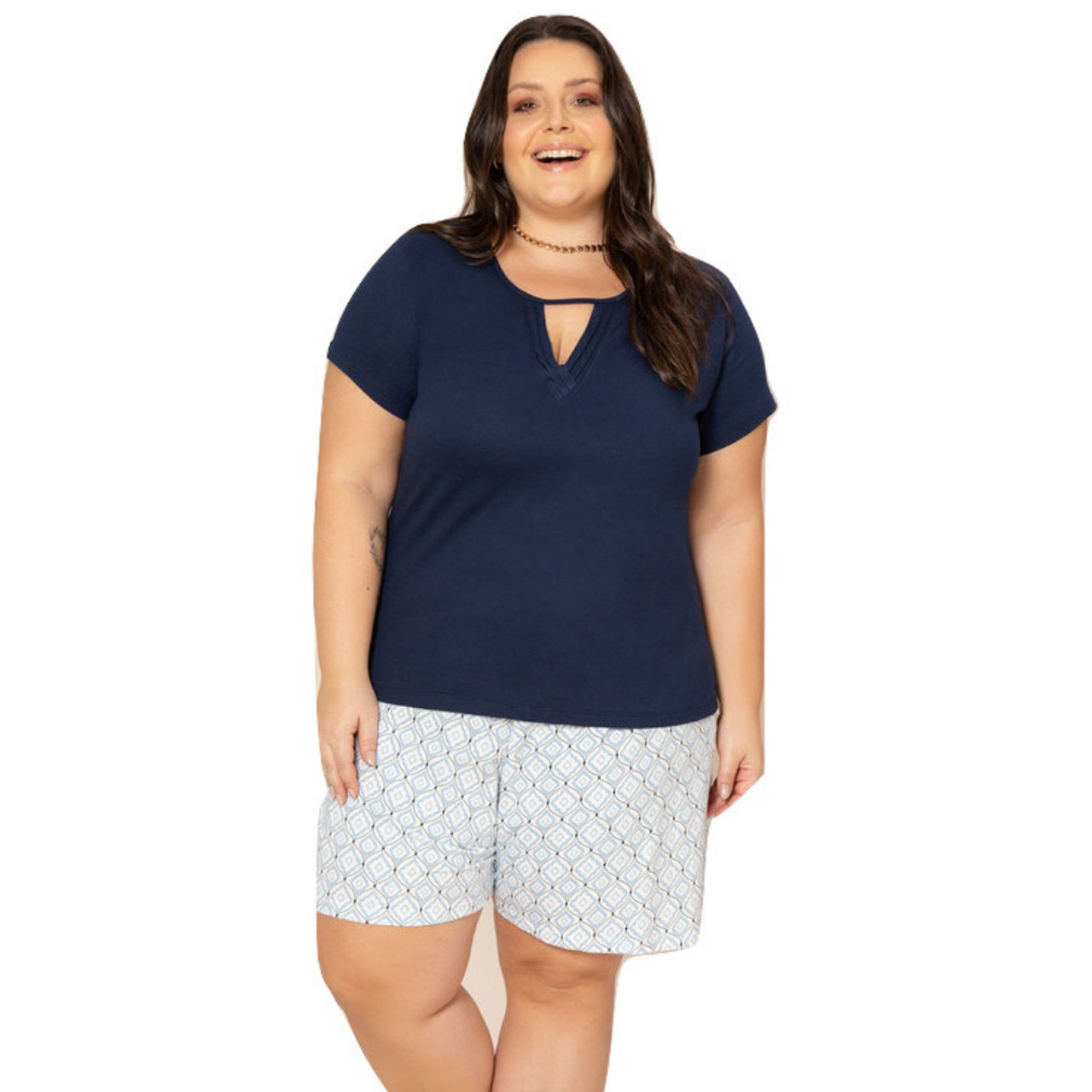 Pijama plus size verão blusa com manga bermuda feminina