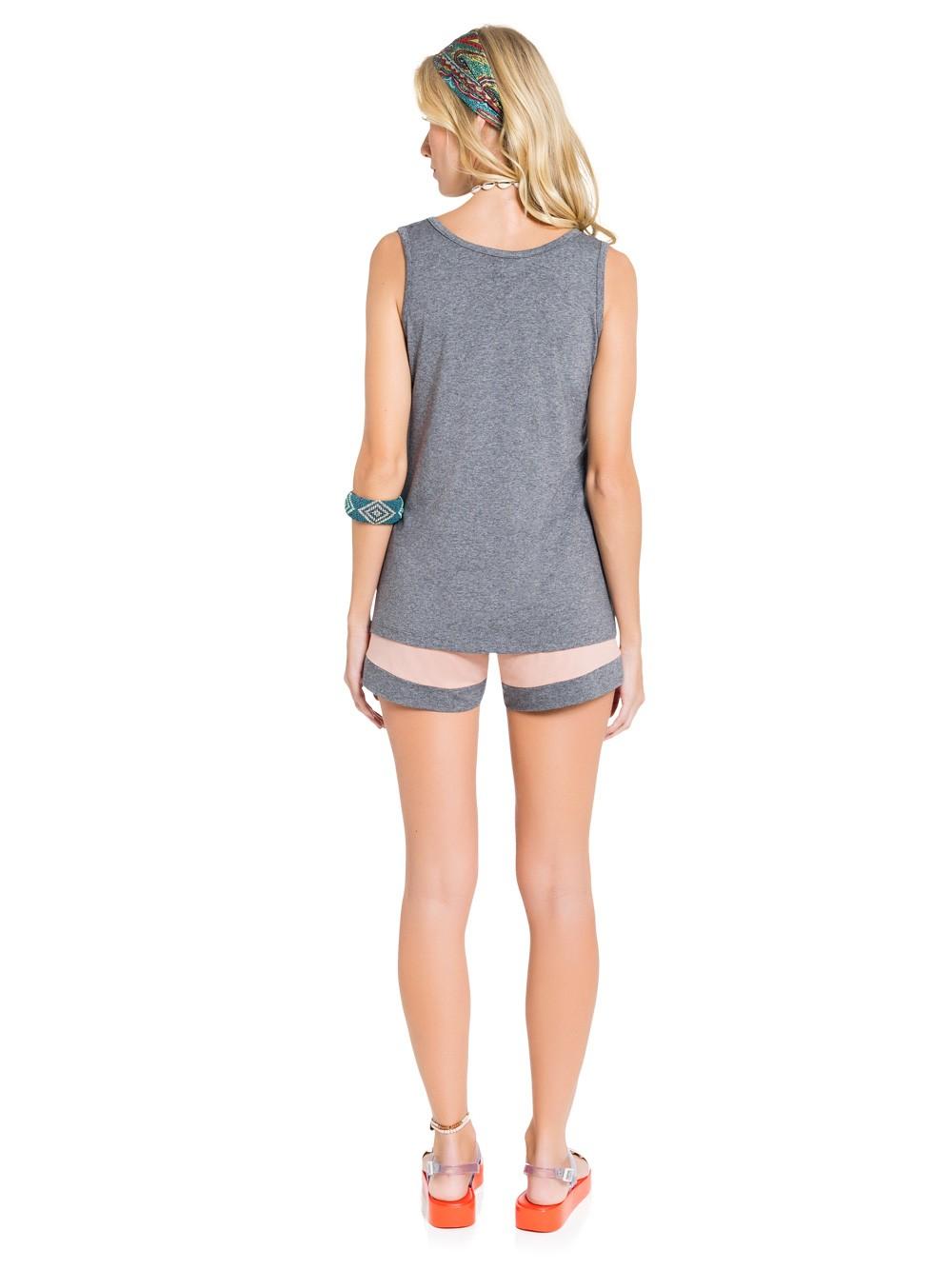 Pijama regata feminino mescla short curtinho rosa viscose