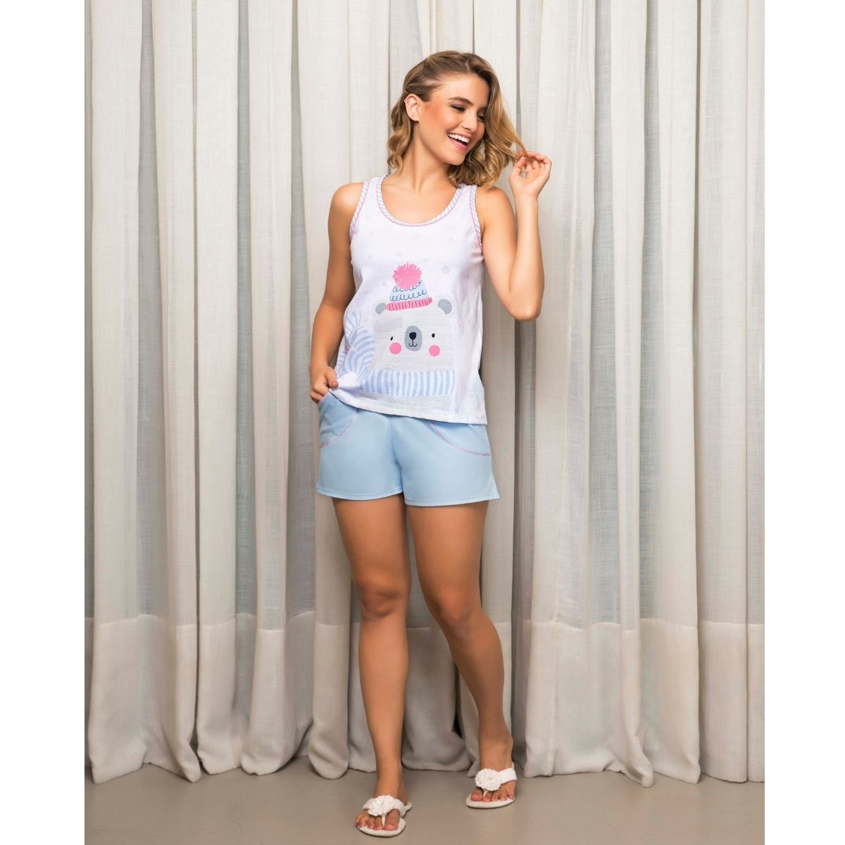 Pijama regata feminino verão baby doll algodão ursinho