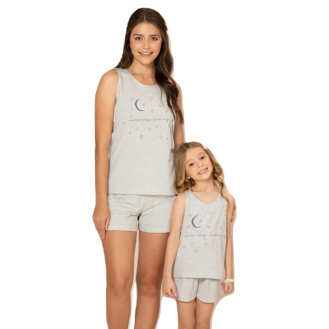 Pijama baby doll verão blusa regata short curto infantil
