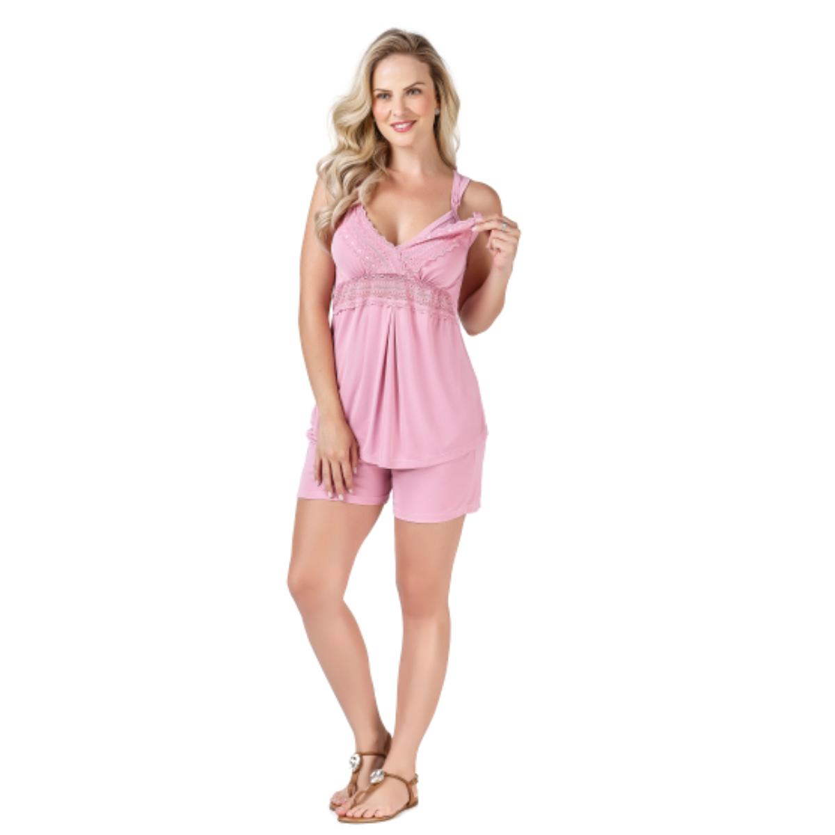 Pijama short dol bojo duplo mamae renda amamentação liganete