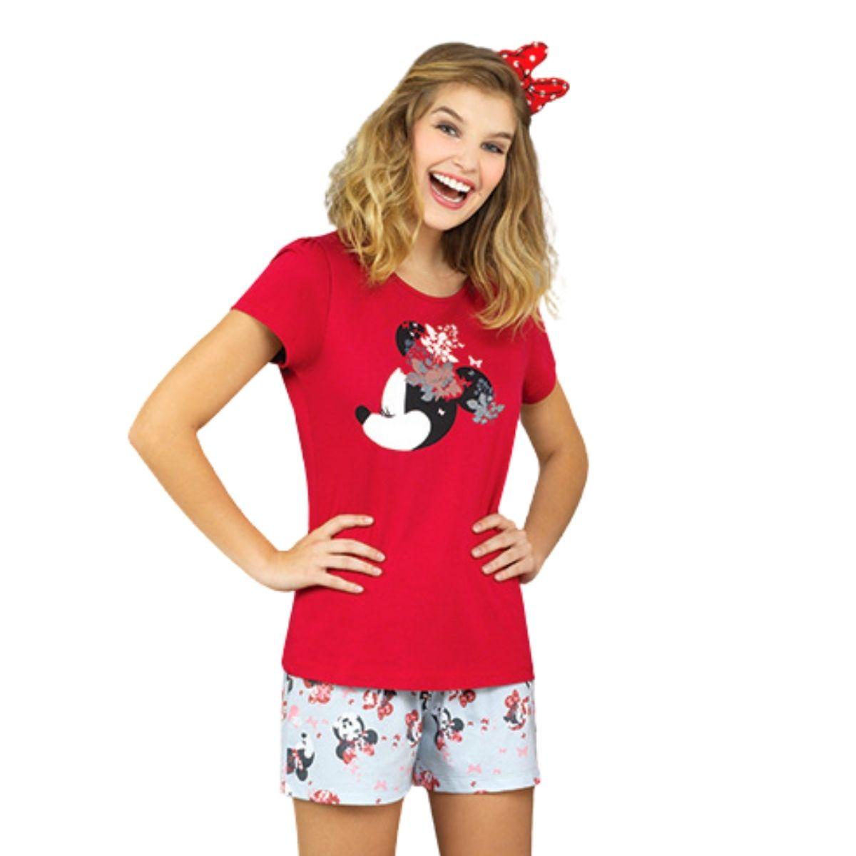 Pijama short doll feminino algodão minnie mãe lupo