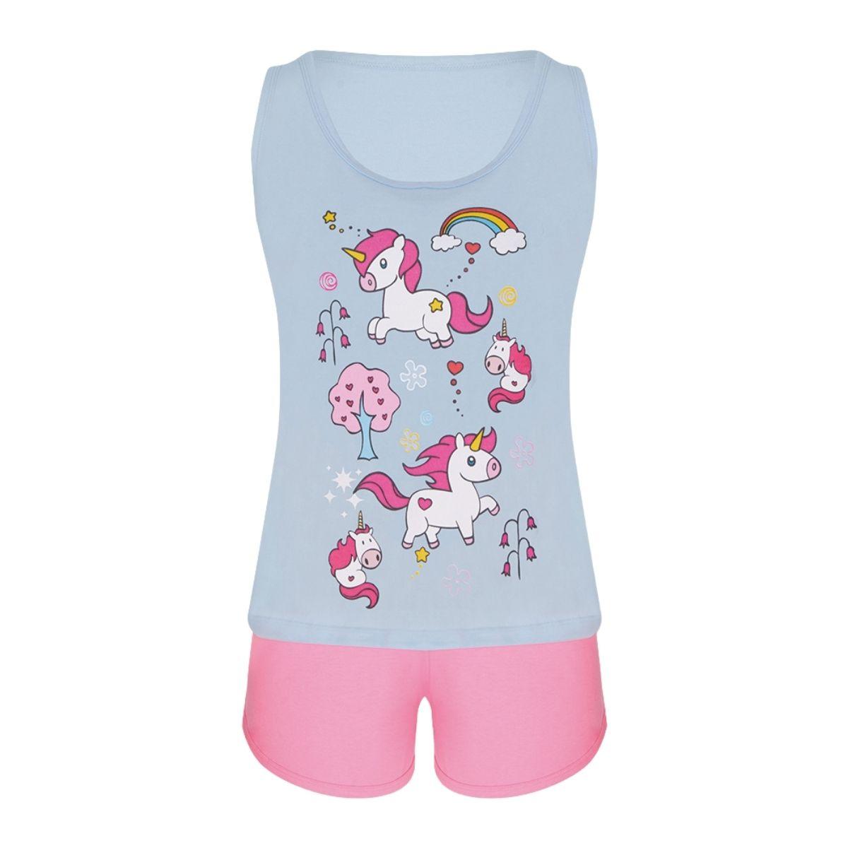 Pijama unicórnio azul/pink fem short algodão regata