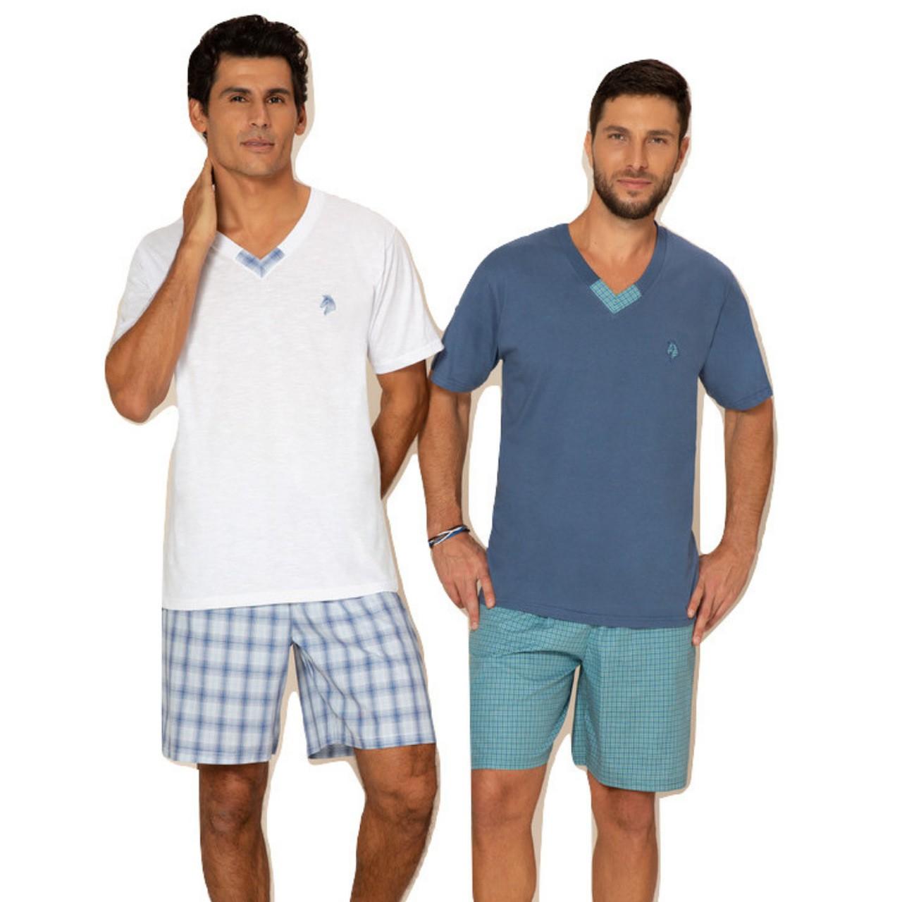 Pijama verão masculino manga curta gola v  bermuda xadrez