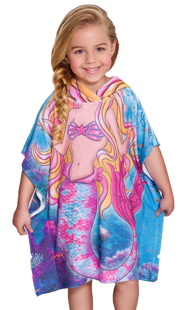 Roupão atoalhado infantil princesa com capuz rosa estampado