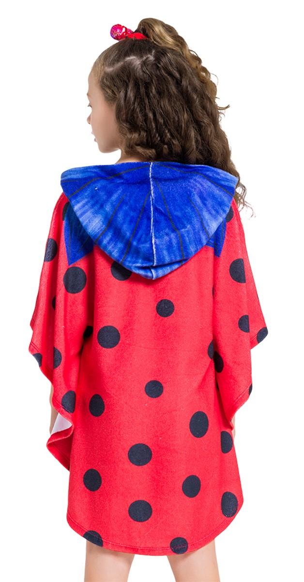 Roupão atoalhado Ladybug com capuz infantil piscina
