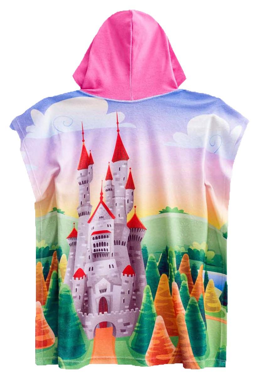 Roupão castelo das princesas com uma coroa na toca pink