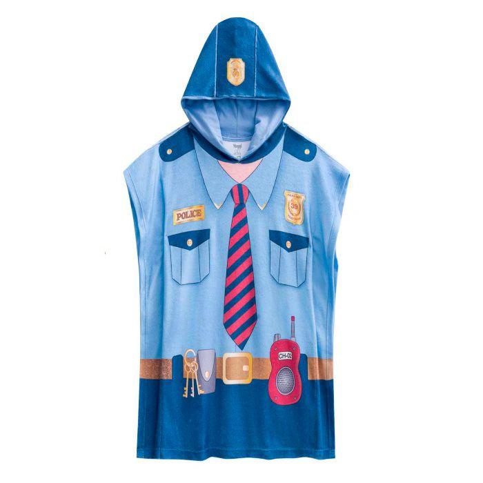 Roupão com farda policial mirim com toca azul