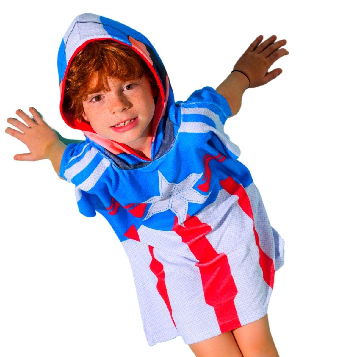 Roupão infantil piscina natação capitão america capuz