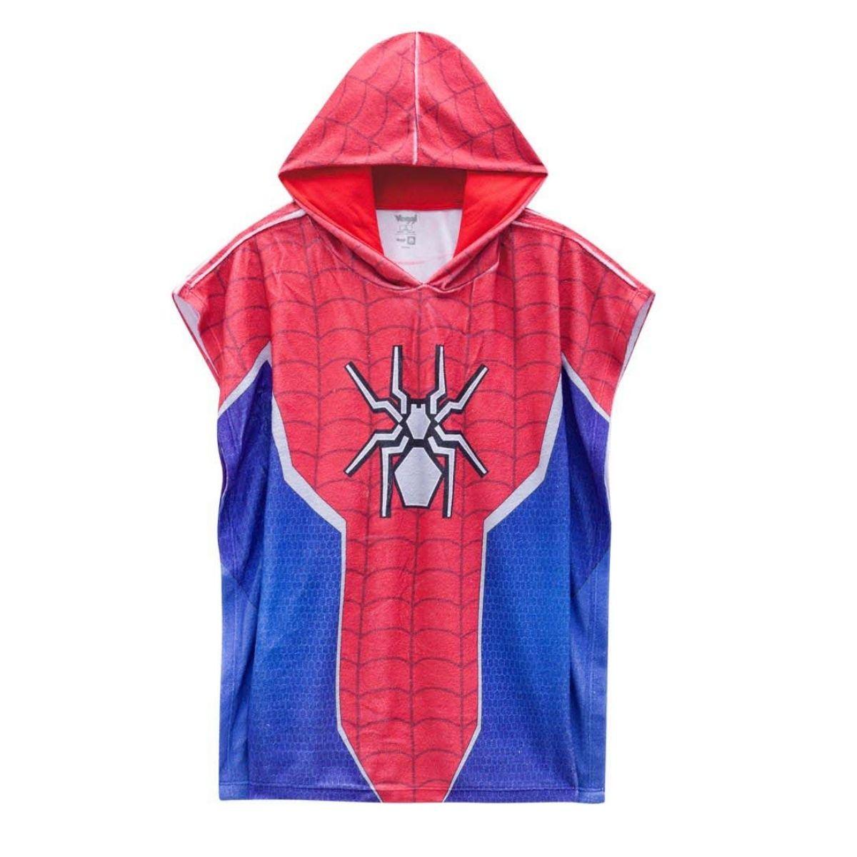 Roupão infantil piscina natação toalha homem aranha capuz