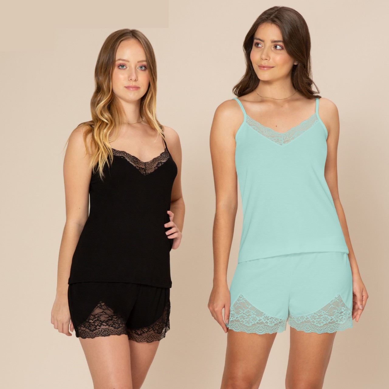 Short doll viscose detalhe renda blusa de alça short curto