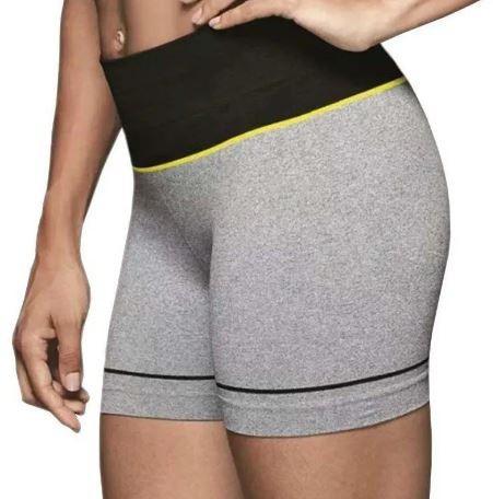 Short sem costura mescla faixa preta academia yoga lupo