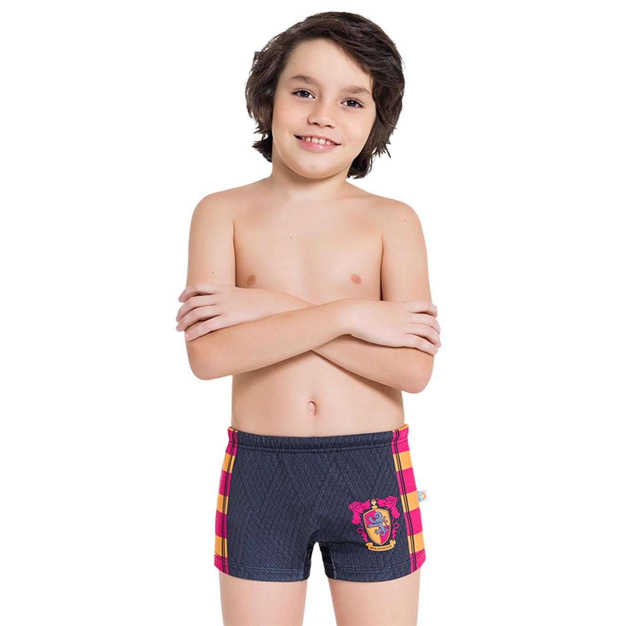 Sunga boxer harry potter infantil proteção solar