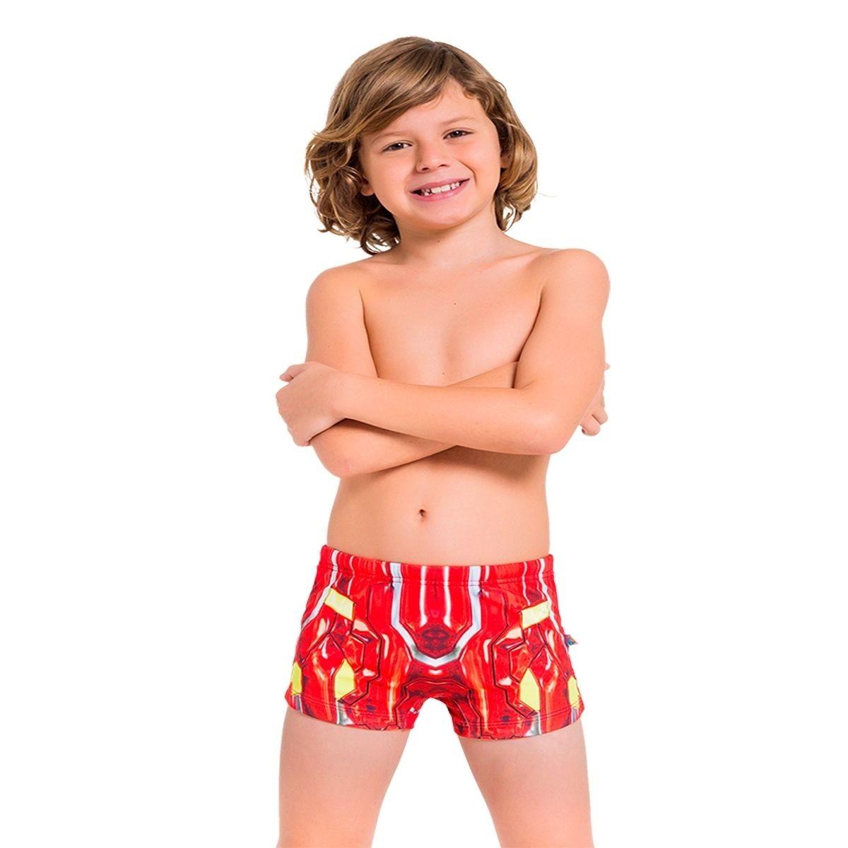 Sunga boxer infantil homem de ferro personagem marvel praia