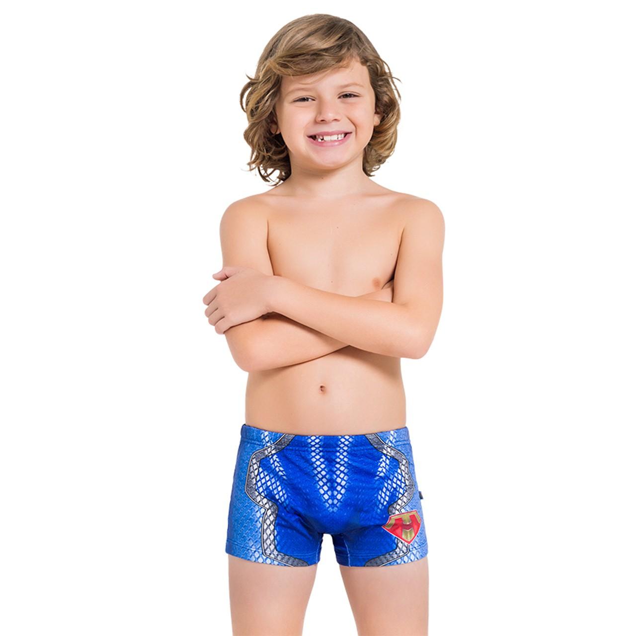 Sunga boxer infantil super man dois ajuste cordinha amarar
