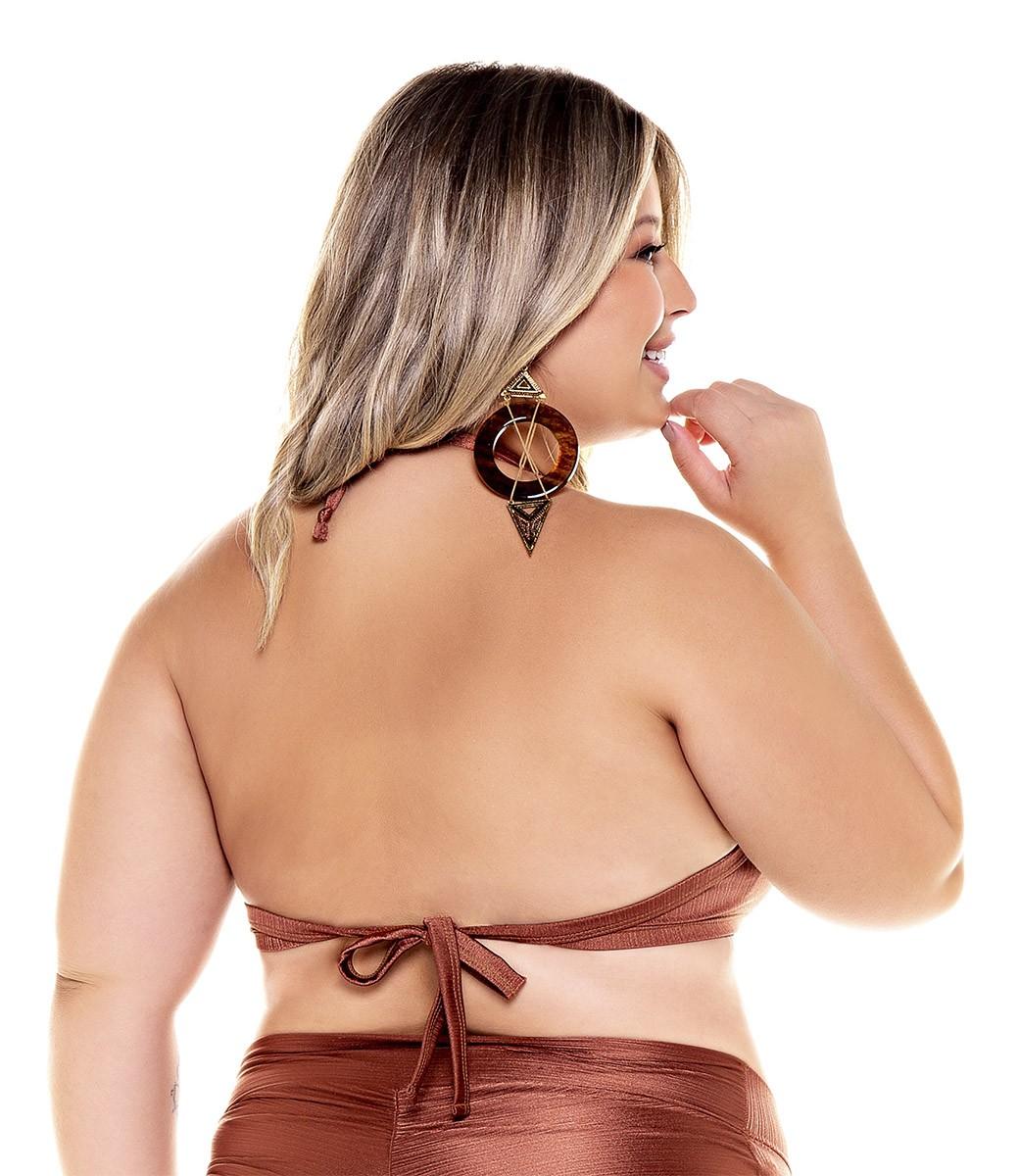 Top biquíni com bojo plus size base amarração costas