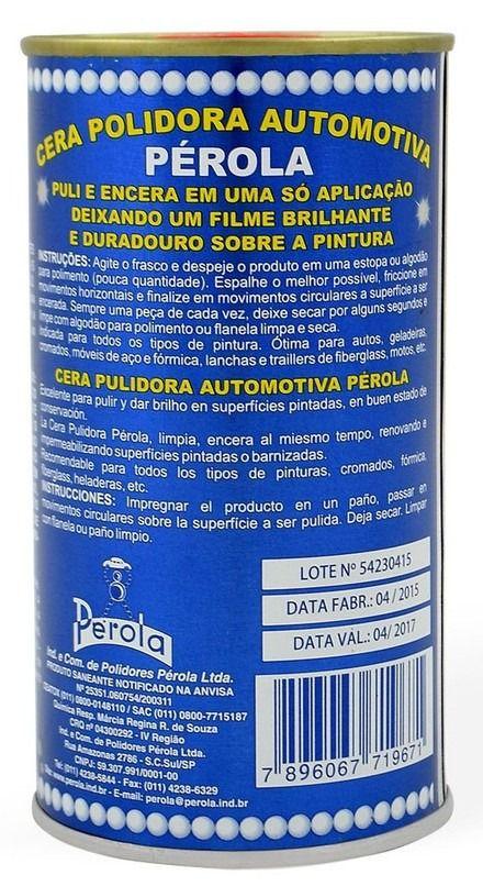 Cera Polidora Automotiva c/ Silicone e Canauba - Perola