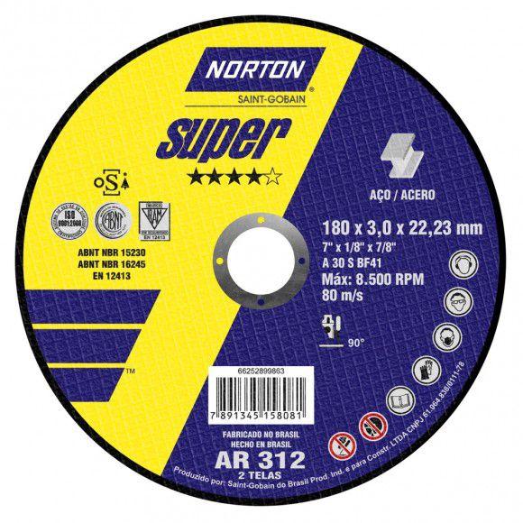 "Disco Corte Norton Super AR312 7"" x 1/8 x 7/8 (05 unidades)"