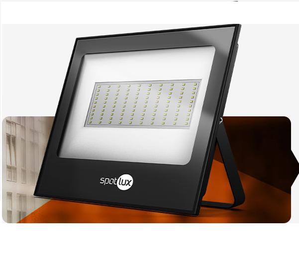 Refletor Led Holofote Com Fotocélula Bivolt 100w 6000k - Spotlux