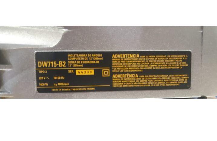 """Serra de Esquadria 12"""" (305mm) 1600w DWS715 - DEWALT"""
