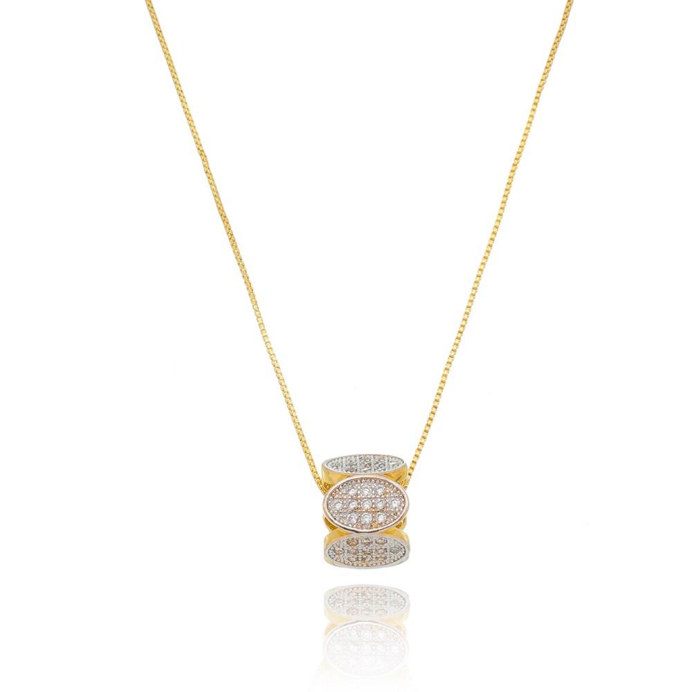 Colar com Pingente Hexagonal Cravejado em Zircônias Banhado a Ouro 18k