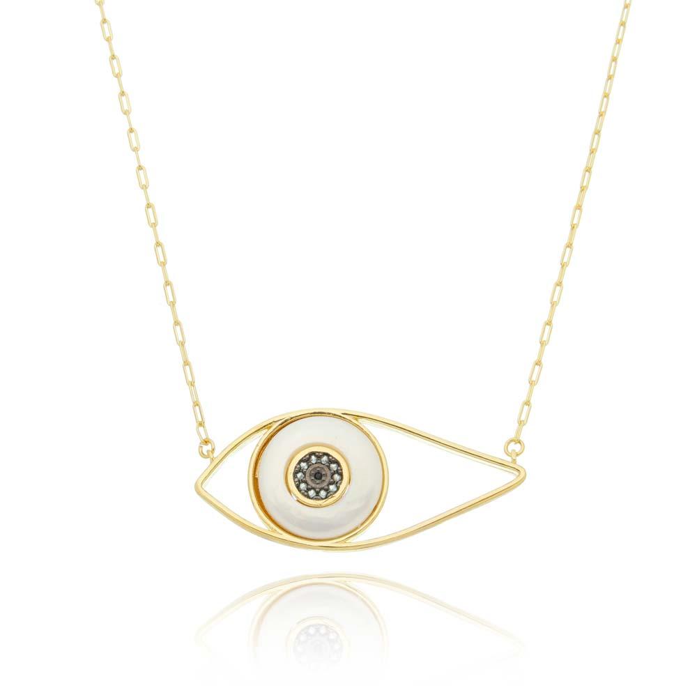 Colar Corrente Olho Grego Ouro Branco Banhado a Ouro 18k