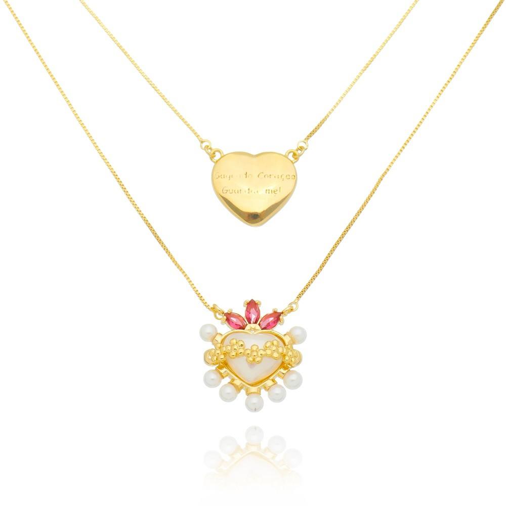 Colar Escapulário Feminino Coração Mikonos e Sagrado Coração - Banhado a Ouro 18k
