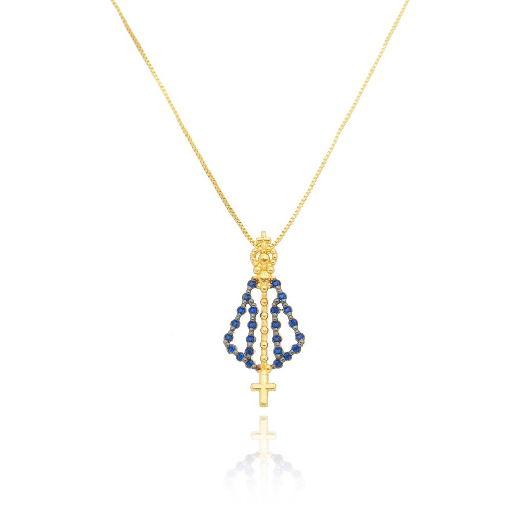 Colar Nossa Senhora Aparecida com Zircônias Azuis - Banhado a Ouro 18k