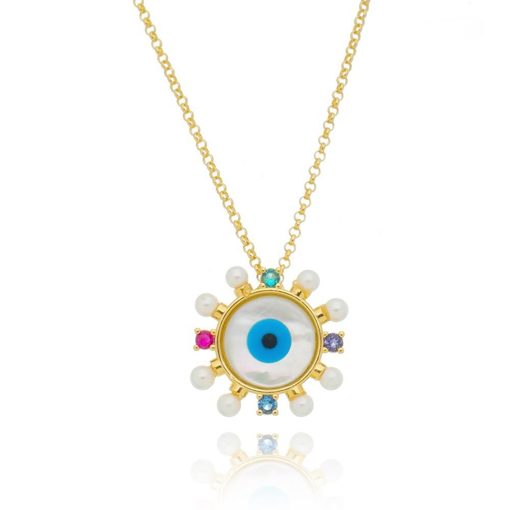 Colar Olho Grego Madrepérola Redondo Com Pedras Preciosas Banhado a Ouro 18k 50cm