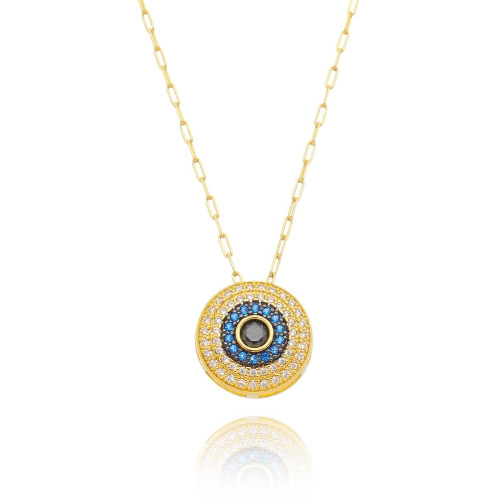 Colar Mandala Olho Grego Cravejado em Zircônias - Banhado a Ouro 18k